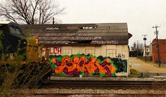 SIGH (BLACK VOMIT) Tags: building abandoned wall train graffiti ol south engine dirty dos sigh freight trackside csx