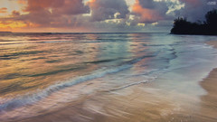 Hanalei Refelctions (AlexDrops) Tags: ocean sunset horses sun mountains beach fun hawaii bay sand paradise waves angle pacific sony north wide wave hills tokina shore northshore kauai tropical alpha dslr aloha hanalei