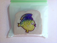 Mohawk fish (D Laferriere) Tags: art bag drawing sandwich sharpie creature attleboro sandwichbag laferriere biobag drawr sandwichbagart