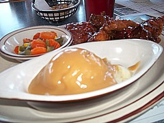 Barbecue Chicken, Mashed Potatoes And Gravy With Mixed Vegetables. (dccradio) Tags: food ny newyork dinner lunch corn gravy mashedpotatoes upstateny eat meal carrots greenbeans supper mixedveggies westville bbqchicken mixedvegetables barbecuechicken northernny barbquechicken elmcirclerestaurant