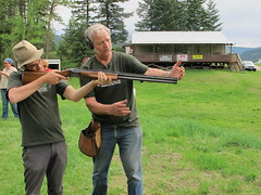 Bernie showing Neil how to use a shotgun (BCWF Wetlands Education Program) Tags: nature community education conservation workshop environment wetland chasebc bcwf