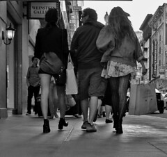 Man and Two Girls (tacosnachosburritos) Tags: sanfrancisco california street city summer people urban woman hot streets sexy guy love girl fashion lady shopping photography legs gritty chick hills trendy heels chic thelook 7x7