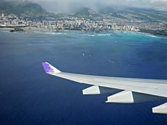 aerial of Waikiki Beach (kenjet) Tags: aerial aerialview fromthewindow wing winglet airbus a330 a330200 a330243 ha373ha kukalaniehu inflight oahu view city beach hawaii waikiki waikikibeach paradise coast