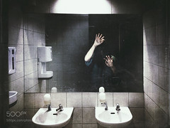 Trapped (l3v1k) Tags: ifttt 500px portrait concept night woman adult surreal horror bathroom mirror darkness manipulation scary indoors iphoneography iphoneart mobileart