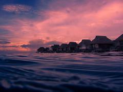 Artificial sunset at Tahiti moorea pearl beach (sapphire_rouge) Tags: frenchpolynesia    beach moorea lagoon  gauguin resort cruise francehpolynesia coral reef society afternoon pearlbeachhotel  pearlbeach collor societyislands sunset tahiti polynesia island paulgauguin water
