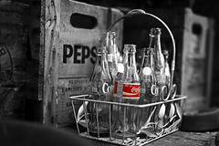 The Pepsi Coke Challenge (charhedman - more off than on) Tags: pepsi cocacola coke pop soda vintage bottles antiquestore wood basket selectivecolour