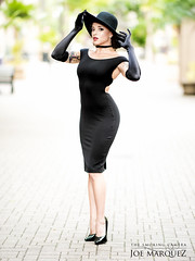 Little Black Dress and Hat Fashion with Nikon 105 f1.4e Lens _86A4329 (The Smoking Camera) Tags: little black dress hat fashion curvaceous sexy photoshoot shapely gloves nikon 105 105e 105mm f14 bokeh shallow dof girl heels lbd audreyhepburn stylish