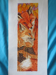 \ Foxes (Walking to live) Tags: crossstitch embroidery pontocruz broderie       fox foxes pair