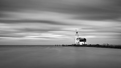 Lighthouse (miguel_lorente) Tags: blacknwhite lighthouse blackandwhite netherlands sunset longexposure silky water bnw bw marken seascape sony sea