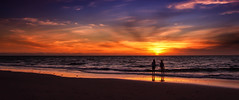 side by side (Bec .) Tags: bec canon 450d 1022mm 10mm adelaide southaustralia semaphore beach ocean sea shore sand reflection girls standing sidebyside sisters water waves clouds sunset