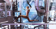 Escaping the Lab (Flit Ulrik // Agent Orange) Tags: secondlife second life sl android robot cyborg bot droid neoshoda ballet azoury bolson erratic katat0nik neurolab inc shi binah slink avatar enhancement feet pointe video game digital design