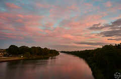 Pink Canal (PaaulDvD) Tags: netherlands holland nijmegen nimgue canal bridge stairs sky cloudy fall water