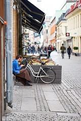 Taking a break. (stofil) Tags: callaghan cafe gothenburg gteborg 85mm batis85f18 batis85mm batis85 batis zeissbatis85 zeissbatis zeisslens zeiss sonyalpha7 sonyalpha sonya7 sony smoking street break
