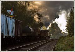 Hiding the sun (Peter Leigh50) Tags: great central railway swithland sidings rothley signal semaphore black 5 45305 gcr freight train wagon steam smoke sun rays