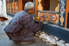 Inside Trongsa Dzong (whitworth images) Tags: stone administration building buddhist large flower person himalayas gho bhutan enormous culture man buddhism interior travel decoration bhutanese ancient carving historic inside dzong painting wooden fortress government old detail robe religious religion huge painter asia architecture trongsa monastery trongsadzong himalaya traditional