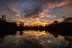 Sunset (Kevin Povenz Thanks for the 2,600,000 views) Tags: 2016 october kevinpovenz westmichigan michigan ottawa ottawacounty jenison sunset clouds evening dusk water pond reflection canon7dmarkii sigma1020