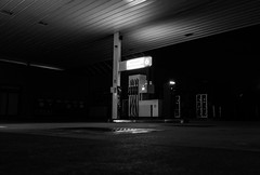 Pump no. 6 (John fae Fife) Tags: night noiretblanc xe2 luxembourg garage bw nb nightscene nightphotography pump petrolstation petrolpump blackandwhite howald monochrome fujifilmx