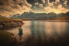 Stay (Chrisnaton) Tags: switzerland tannensee mountainlake mountainview alps eveningmood girl standingonalake nature landscape eveninglight eveningsky childhood lakeshore obwalden hiking watchingthesungodown