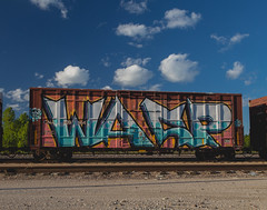 WASP (Electric Funeral) Tags: omaha midwest councilbluffs nebraska lincoln fremont desmoines kansascity kansas missouri iowa graff graffiti paint aerosol art freight train traincar freighttraingraffiti railway railroad railcar benching benched freighttrain rollingstock fr8train fr8heaven canon 5d digital photography wasp mfk syw boxcar end2end e2e wholecar