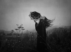Dreamscene (Maren Klemp) Tags: fineartphotography fineartphotographer darkart darkartphotography blackandwhite monochrome umbrella nature outdoors selfportrait portrait movement fog conceptual surreal ethereal dreamy dream painterly artistic flowers windy woman
