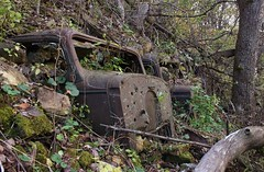 Open air time capsule (MN transfer) Tags: car cars auto autos automobiles old vintage 1930s junk scrap discarded woods railroad rightofway embankment cnw chicagonorthwestern stocktonvalley minnesota october16th2016 exploration rural industrialarchaology