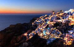Postcard from Oia (One_Penny) Tags: aegean greece griechenland island santorin santorini canon6d travel city cityscape sunset bluehour twilight evening rocks caldera mediterranean mediterraneansea cliff architecture houses colors colorful sky sea view oia thira lights windmill scenery postcard