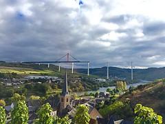 Mosel. bridge. (judydeanclasen) Tags: vines steeple church bridge sky germany houses river mosel