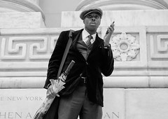 The Wait (jonron239) Tags: man boy geezer smartphone expression jacket tie cardigan umbrella cap newyork library steps marble