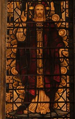 Jesus in the window (N'GOMAPHOTOGRAPHY) Tags: peterborough cathedral nightshoot night candles gothic masonry stonework woodwork carvings stainedglass window jesus cross crucifixion