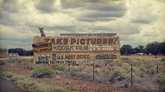 Take Pictures! on Route 66 in Houck, Arizona (on Film, of Course!) (eoscatchlight) Tags: arizona film sign analog route66 kodak oldschool billboard roadsideamerica olympusom2 om2 reservation onone yesteryear houck kodakfilm ektar zuiko50mmf14 kodacolor100 fortcourage kodakektar kodakektar100 ofdaysgoneby