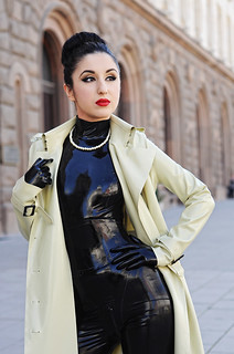 Latex trench coat and catsuit