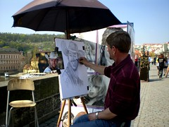 Painter in Prague. (Athena Marano) Tags: portrait people paint prague drawing picture praha persone painter piazza