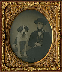 Young Man with His Large Dog - Cased Sixth Plate Ambortype (Photo_History) Tags: ambrotype youngman bigdog