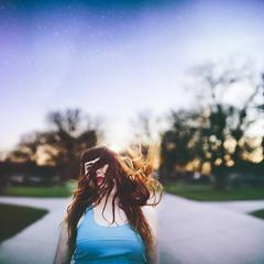 (Megan Wilson Photography) Tags: street pink blue light summer girl hair square stars winnipeg purple flip faceless meganwilsonphotography