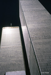 1985 Looking up at Twin Towers NYC May 14 (colinfpickett) Tags: nyc usa newyork america us sad famous twintowers