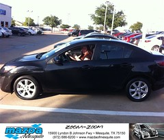 #HappyAnniversary to Jessica and your 2011 #Mazda #Mazda3 from Everyone at Mazda of Mesquite! (Mazda Mesquite) Tags: mazda mesquite texas tx sportscars sporty dallas dfw metroplex automotive luxury new used preowned vehicles car dealer dealership happy customers truck pickup sedan suv coupe hatchback wagon van minivan 2dr 4dr bday shoutouts