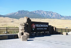 Mountain Scenery and Sign, Yellowstone National Park, Gardiner, Montana, USA (Bencito the Traveller) Tags: mountain scenery sign yellowstonenationalpark gardiner montana usa