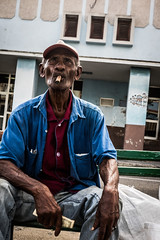 (ross_123) Tags: cuba travel latin centro central america photography fuji x series xf 27mm pancake lens 28 f28 cienfuegos ciga smoker man guy gent cuban hat street candid