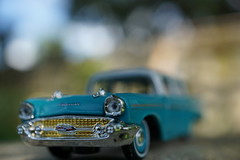 Drove my Chevy to the levee.... (Shelby's Trail) Tags: macromondays theme planestrainsandautomobiles 1957 chevrolet wagon chevy macro bokeh hmm