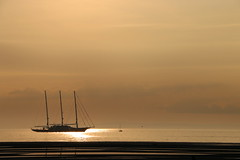 Three-Mast Yacht, Troon, off Barassie Beach #2 (moonfan23) Tags: yacht 3mast troon ayrshire scotland sailing sunset reflection seascape