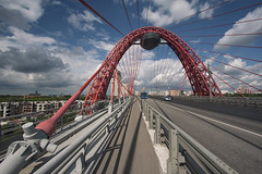 (Khuroshvili Ilya) Tags: architecture urban bridge highway city moscow sky summer red construction mirrors mirrorball lines geometry