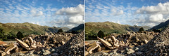 Glenridding stereo pair (allybeag) Tags: glenridding patterdale lakedistrict cumbria postfloods stereopair 3dpair stereoscopic fells rubble builing mountains sky