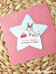 Santa Paws LF&SSS star card (fridayfinally) Tags: lawnfawnstamp lawnfawndies lawnfawn simonsaysstamp simonsaystamp happyhowlidays dog gingerbread deer happycritters snowflakes lightblue copicmarkers copic copics distressink santapaws christmascard christmas star geometricshape guavainklawnfawn lawnfawninks minicard merrychristmas winter winterscene winterseason