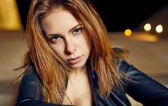 Stefi (Aloxxxy) Tags: blue jacket leather sexy female model portrait bokeh blonde night blondhair brighteyes stairs canon5dmarkiv profotob1