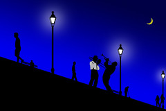 NOLA Nights (Danny Shrode) Tags: neworleans graphicart blue musicians lamp people moon creative night