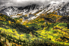 Snow Capped Peaks and Fall Colors (Serithian) Tags: hdr high dynamic range sony alpha a6000 photomatix fall colors aspens marble crystal colorado rocky mountains mill river town clouds snow leaves autumn