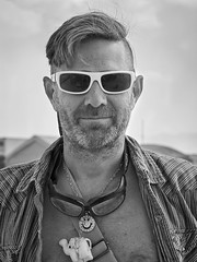 J Street Smiles (M L Hannah) Tags: jstreet burningman burningman2016 people handsome bw monochrome blackandwhite blackrockcity blackrockcity2016 john sunglasses man happy portrait burner guy