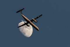 flyby (Marc McDermott) Tags: plane moon sky evening flyby propeller porter airlines bombardier q400