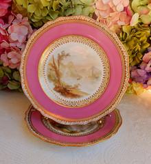 Antique 19c. Copeland Porcelain Plates ~ Pink Bands ~ Gold (Donna's Collectables) Tags: antique copeland porcelain plates ~ pink gold china thanksgiving christmas