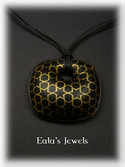 Arabic black and gold star tile pendant (Eala's Jewels) Tags: polymer clay handmade jewelry ealajewels tile star arabic islamic wall pendant white faux ceramic blue silkscreen black gold